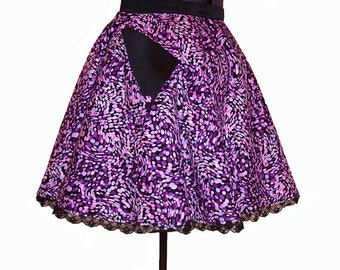 SALE 1950s Style Abstract Pink and Purple Swirl Dots Full Circle Skirt with Retro Pockets and Built in Petticoat size XL
