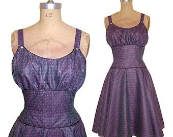 SALE! 1950s Style Gathered Bust Dress Purple and Black Chintz Rhinestones Full Circle Skirt size Medium Ready to Ship