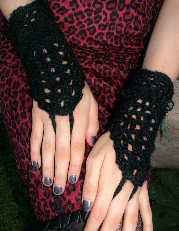 Gothic Black Crochet Gloves / Pink Beads / Black Lace Trim