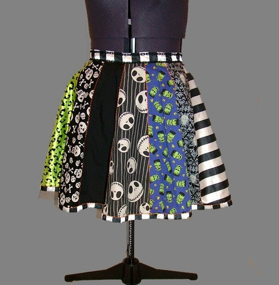 SALE Halloween Patchwork Circle Skirt / Nightmare Before Christmas, Skeleton, Glow In The Dark Skulls, Spiders and Stripes 4XL