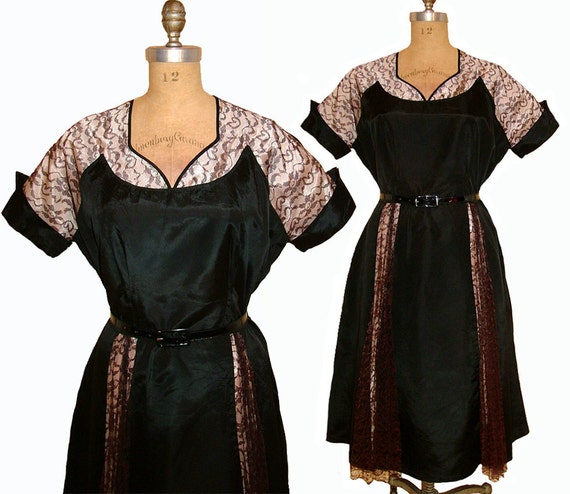 DREAMY Vintage 1950s Black and Baby Pink Taffeta Lace Illusion Bust Dress size XL
