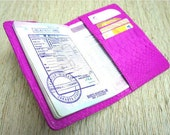 Leather passport holder - Snakeskin hot pink passport cover