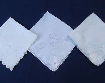 Vintage Ladies Monagramed Initial B or R Handkerchiefs