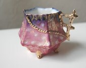 Beautiful Vintage Pink Purple Gold Hand Painted 4 legged Cup