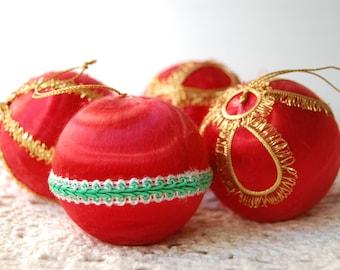 Retro Red Satin 4 Gold Braid Christmas Ornaments 1960s - 70s Plastic