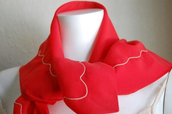 Vintage Valentine Red Polyester Scarf Headscarf Sheer Stylish Starlet Fashion