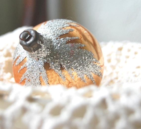 Christmas Vintage Glass Christmas Ornament Peach Gold Flocking Snow