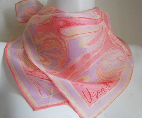 Vintage Pink Purple Beautiful Vera Neumann Scarf Pastel