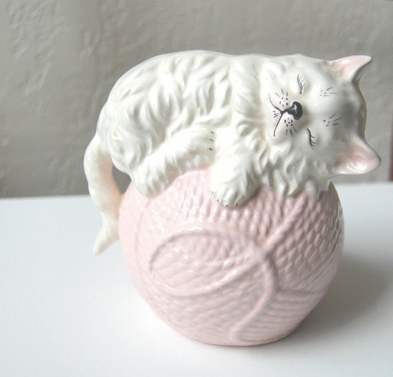 Vintage Sleeping Cat Planter on Ball of Pink Yarn Wool