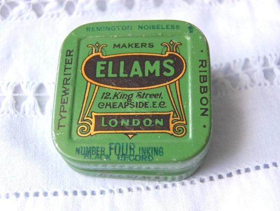 Vintage English Square Typewriter Ribbon Tin Ellams Collectible Art Deco Green