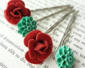 Flower Bobby Pin Set with Red Roses and Teal Flowers