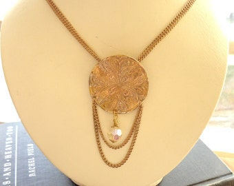 Gold Necklace Featuring a Vintage Medallion with Hanging Chain and Glass Crystal Bead OOAK