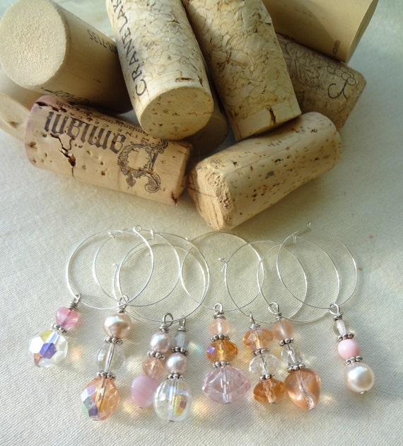 Shabby Chic Pink and White Wine Glass Charms Summer Parties