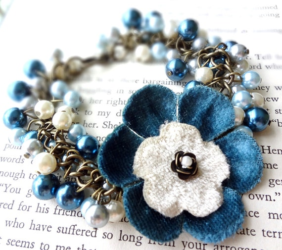 Reserved for Alex Braniecki-Pearl Beaded Bracelet in Shades of Blue with Flower Charm