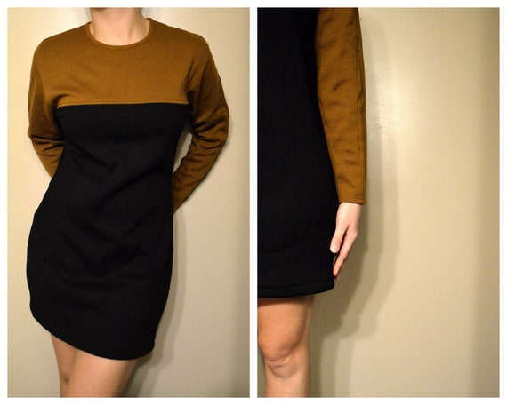 Brown and Black Mini Sweater Dress