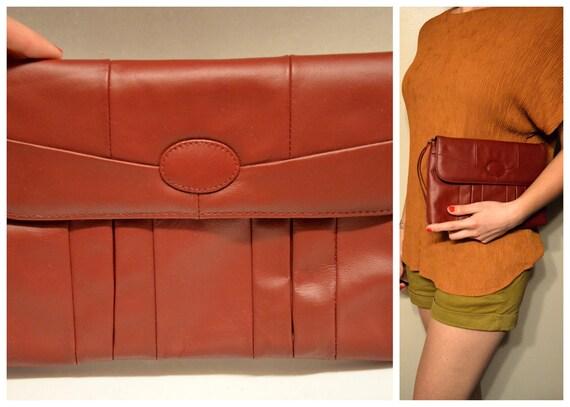 Dark Maroon Genuine Leather Clutch with Pockets