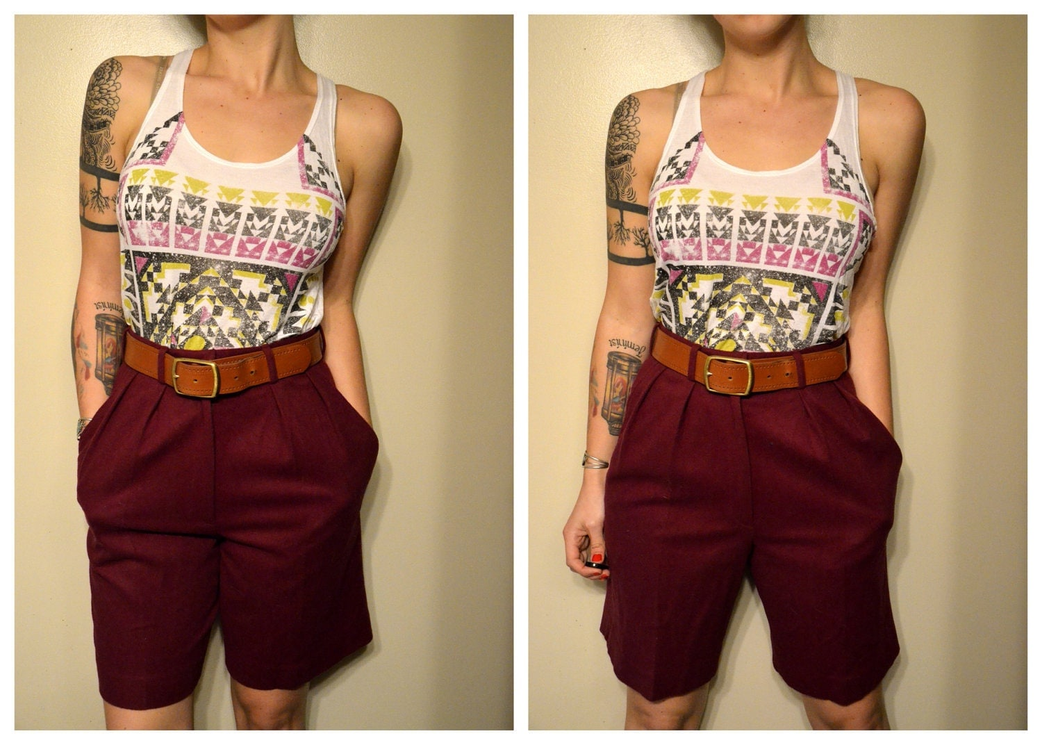 SALE 50% OFF High Waist Long Maroon Shorts with Pockets