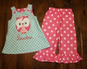Owl Aline Dress and Ruffle Pants