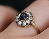 Cabochon Sapphire and Diamond Cluster Ring
