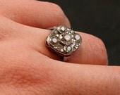 Edwardian Platinum & Diamond Cluster Engagement Ring