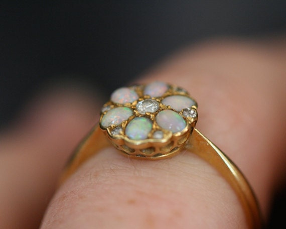 Opal & Diamond Cluster Ring in 18ct Gold