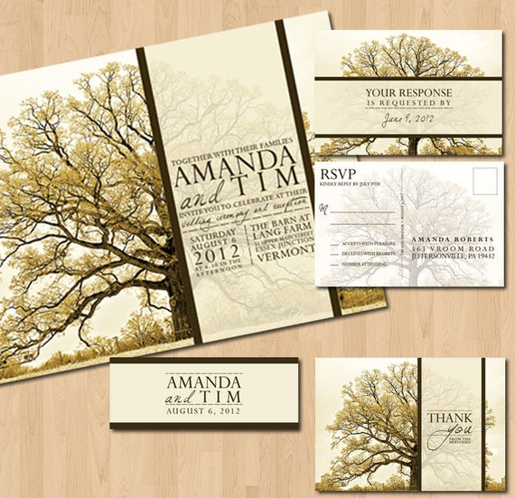 Free Printable Tree Wedding Invitations Items Similar To Printable Vintage Tree Wedding