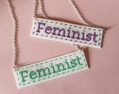 Feminist Cross Stitch Necklace