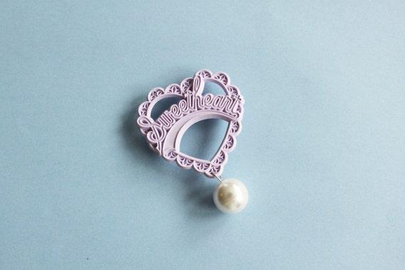 Lilac Sweetheart & Pearl Brooch
