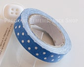 Fabric Tape, Decorative Tape, Blue, White, Polka Dots