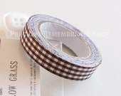 Fabric Tape, Decorative Tape, Brown, White, Checkered