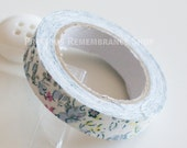 Fabric Tape, Decorative Tape, Floral, Patterned, Blue, White