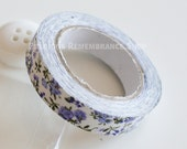 Fabric Tape, Decorative Tape, Floral, Patterned, Lavender, White