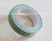 Fabric Tape, Decorative Tape, Green, White, Checkered