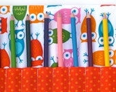 Owl Color Pencil Roll / Artist Organizer / Girl or Boy Teen Tween Gift / Colored Pencil / Paint Brush