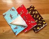SALE / Sock Monkey Burp Cloths / READY To SHIP / Set of 3 / Gender Neutral / Retro / Chenille/  Gift Set of Three