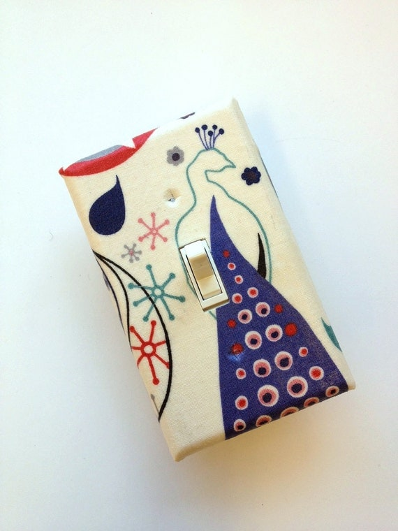 Peacock Light Switch Plate Cover / Standard / Retro Woodland / Single Toggle / Baby Nursery / Purple, Red, and Cream