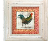 Rooster / Rooster Vintage / Rooster Art / Farmhouse Kitchen Decor / Wall Hanging Decoupage Plate / red and white kitchen / home decor
