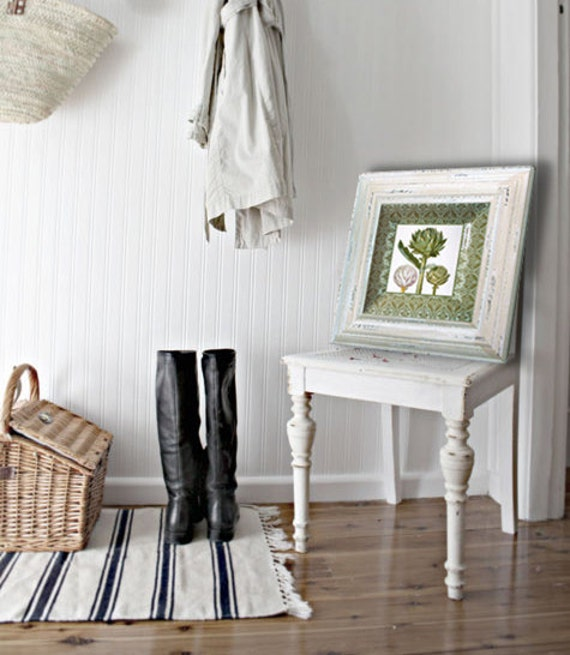 Green artichokes - wall hanging - kitchen art - botanical print - decoupage plate - cottage decor - artichoke art - green
