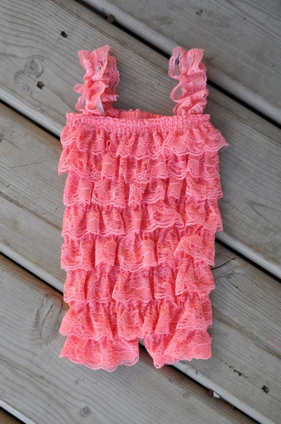 SALE Petti romper - PEACH PINK - Photography Prop - With straps or Strapless