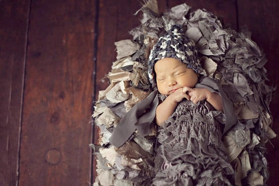 CLEARANCE - Baby lace romper - CHARCOAL GRAY - Photography Prop - With or Without Straps