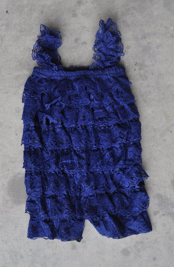 CLEARANCE Lace petti romper - NAVY BLUE - Photography Prop - With or without straps or bow