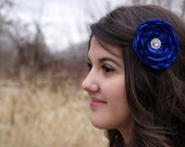 Blue Flower Hair Clip Royal Blue Fabric Flower Fascinator Clip Wedding Flower Clip