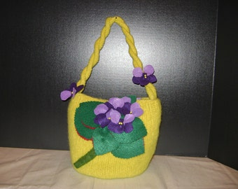 Sale, was 48, Handknit, hand felted purse with violets.