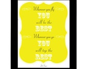 Wherever you fly you'll be the best - Dr.Suess Quote Poster - 8x10 Print