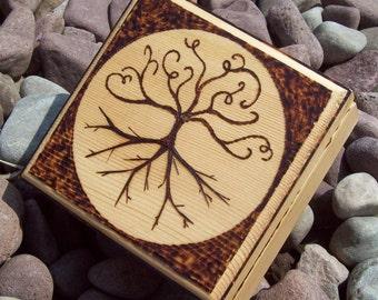 Wood Burned Tree Of Life Trinket Box