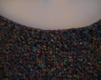 Vintage Sweater COLORFUL GLITTER SWEATER Exclusively Handmade Lots of sparkly color for the holidays