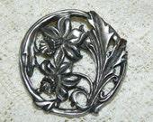 Art Nouveau Pewter Daffodil Brooch