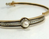 Victorian Bangle Bracelet  with Center Pearl and Diamonds (ITEM-J12)