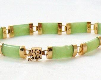 Womens  Oriental Jade and 10kt Gold Bracelet ( ITEM-J06)