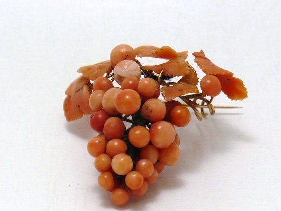 Victorian Coral Grapes Pin w/14k Gold wire  (ITEM-I18)